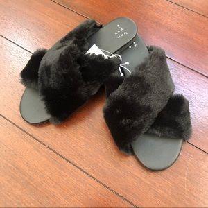 NWT A New Day Black Furry Slip On Sandal Slides